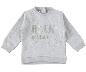 Sweatshirt with slits and patches for girls