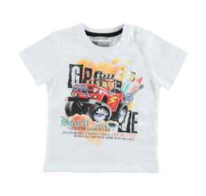 Bold 100% cotton t-shirt with a jeep print WHITE