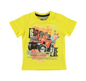 Bold 100% cotton t-shirt with a jeep print YELLOW