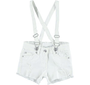Bold and fashionable frayed shorts with braces WHITE