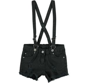 Bold and fashionable frayed shorts with braces BLACK