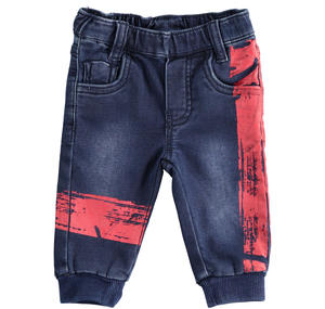 Gritty and comfortable newborn trousers of denim effect fleece BLUE