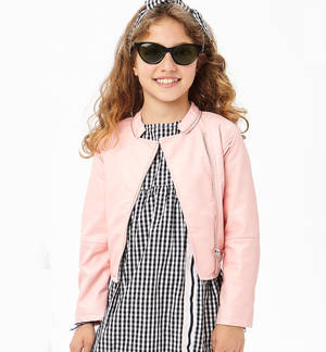 Bold faux leather biker jacket for girls PINK
