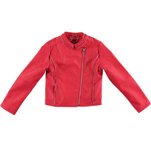 Bold faux leather biker jacket for girls RED