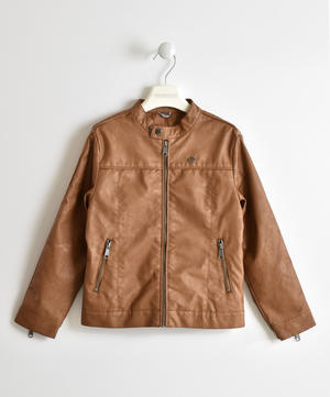 Gritty faux leather jacket for boy biker model BROWN
