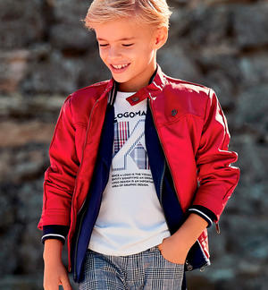 Gritty faux leather jacket for boy biker model RED