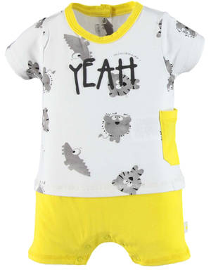Bold romper with faux t-shirt with little animals YELLOW