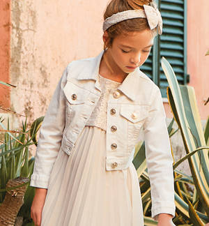 Gubbotto bambina super fashion in cotone stretch con patte frontali PANNA