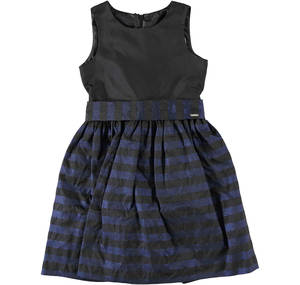 Stripy pattern taffeta dress BLACK
