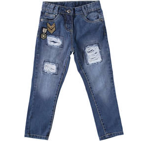 Jeans with slits and inside patches BLUE