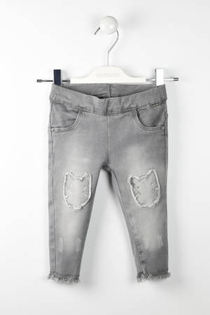 Jeans denim stretch toppe gattino GRIGIO