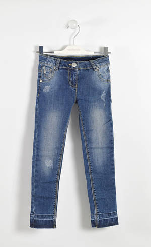 Faded jeans with raw cut bottoms  BLUE
