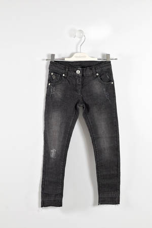 Faded jeans with raw cut bottoms  BLACK