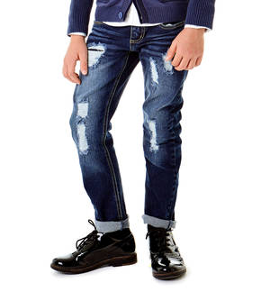 Slim fit jeans with mock slits BLUE