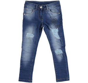Stone-washed slim-fit jeans BLUE