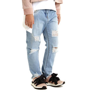 Low crotch torn and frayed at the ankle jeans BLUE