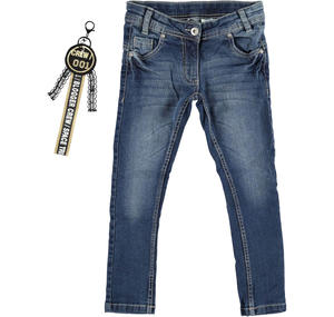 Faded super slim fit jeans with keychain  BLUE