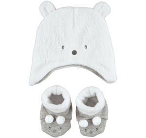 Unisex beanie with ears and booties set  GREY