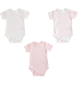 Kit of three boby for newborns 100% cotton PINK