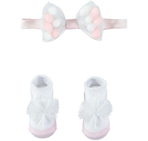 Pink and white shoes and bow tie kit WHITE
