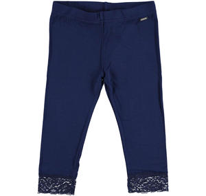 Stretch viscose leggings with floral lace for girls BLUE