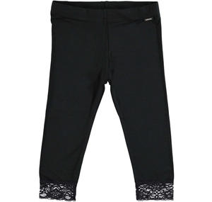 Stretch viscose leggings with floral lace for girls BLACK