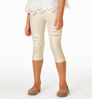 Glittery cotton leggings with rips embellished with lace patches CREAM