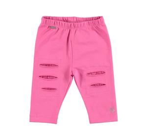 Cotton leggings with rips and internal lace patches for girls PINK