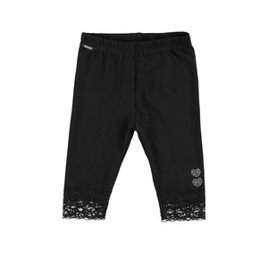 Stretch cotton leggings with lace details for girls BLACK