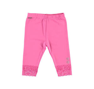 Stretch cotton leggings with lace details for girls PINK