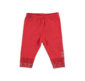 Stretch cotton leggings with lace details for girls RED