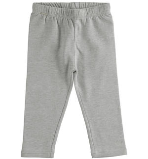 Brushed fleece leggings for girl GREY