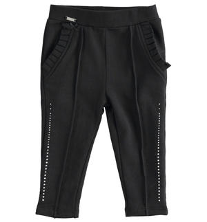 Fleece leggings with ruffles and rhinestones BLACK