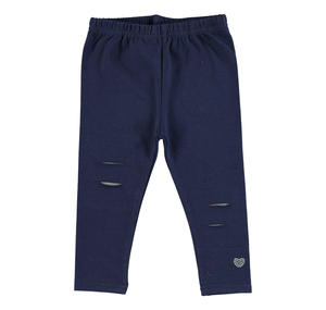 Stretch cotton jersey leggings with rips and patches BLUE