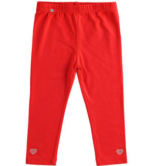 Solid colour stretch jersey leggings RED