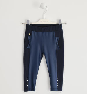 Leggings made in Milano stitch with eco leather inserts BLUE