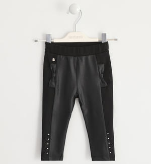 Leggings made in Milano stitch with eco leather inserts BLACK