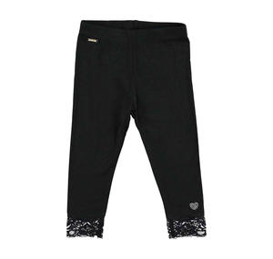 Stretch viscose leggings with floral lace BLACK