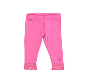 Stretch viscose leggings with floral lace PINK