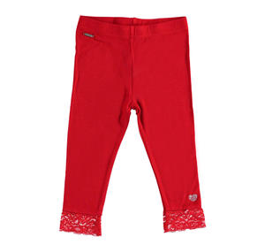 Stretch viscose leggings with floral lace RED