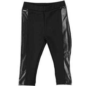 Stretch leggings with leather-effect side bands BLACK