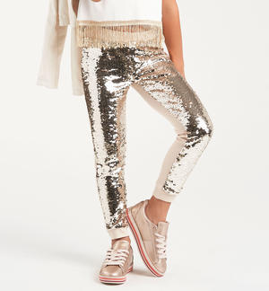 Shimmering sequined cotton girl trousers BEIGE