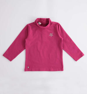 Turtleneck with rhinestone star FUCHSIA