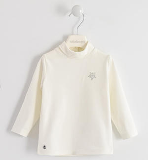 Turtleneck with rhinestone star CREAM