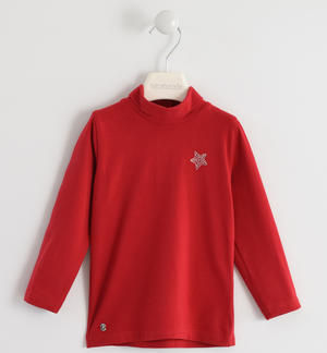 Turtleneck with rhinestone star RED