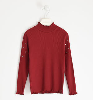 Ribbed turtleneck with pearls RED