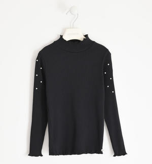 Ribbed turtleneck with pearls BLACK