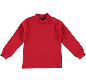 Warm cotton interlock polo neck  RED