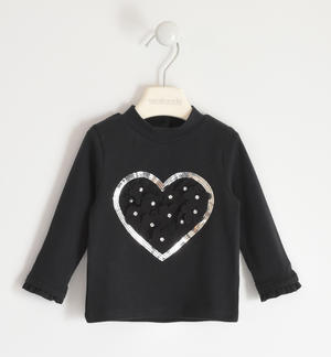 Jersey turtleneck with heart BLACK