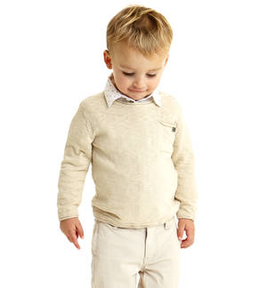 100% cotton boy sweater with raw cut edges BEIGE